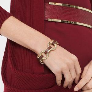 NWT Burgundy Leather & Gold Link Bracelet